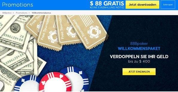Bei 888 Poker winkt ein hoher Willkommensbonus