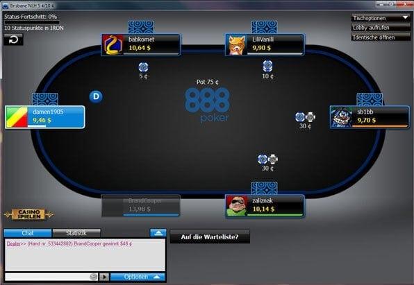 Die Pokersoftware von 888 Poker gehört mit zum Besten auf dem Markt