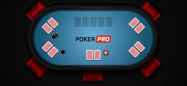 Grafische Darstellung Pokertisch mit Small Blind, Big Blind und Dealer Button