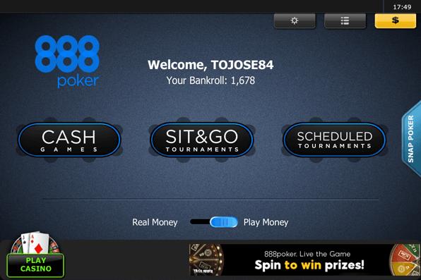 Die Startseite der 888poker App ist sehr übersichtlich gestaltet