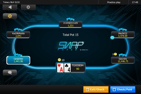 Auch das beliebte Snap-Format, die Hochgeschwindigkeitsvariante des Pokers, lässt sich mit 888poker auf dem Smartphone oder dem Tablet spielen