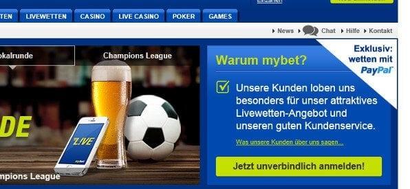 mybet Poker PayPal-Anmeldung auf mybet.com