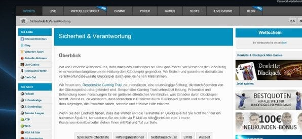 Responsible Gaming-Angebot auf betvictor.com