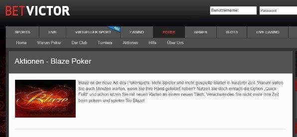 BetVictor Poker Blaze-Aktion auf betvictor.com