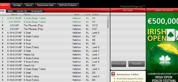 BetVictor Poker Software für Windows