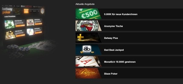 Zusatzangebote auf poker.betway.com