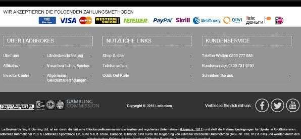 Ladbrokes Poker Lizenzen & Zertifikate auf ladbrokes.com