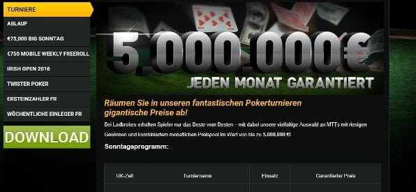 Ladbrokes Turnieroptionen auf ladbrokes.com