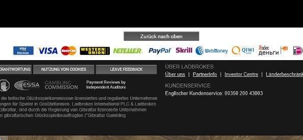Zahlungsanbieter-Übersicht auf ladbrokes.com
