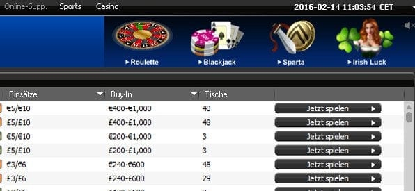 Casinospiele in der mybet Poker-Software