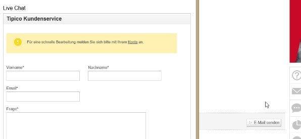 Live-Chat auf tipico.com