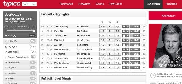 Tipico Live & Sportwetten-Programm auf tipico.com