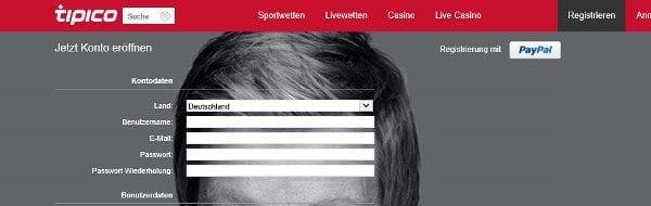 Konto-Registrierung auf tipico.com