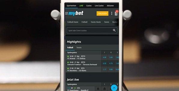 Ein Screenshot der MyBet App-Startseite