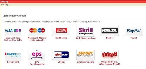 Ladbrokes bietet einige Zahlungsmethoden wie beispielsweise PayPal