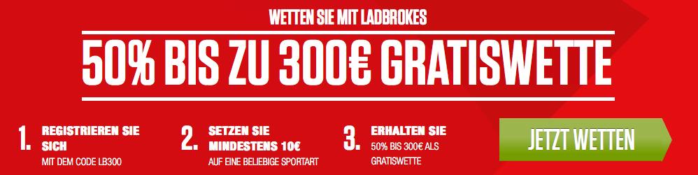 Ladbrokes Neukundenbonus: Gratiswette im Wert von 300€