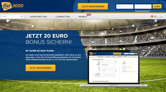 Bet3000 20 Euro Bonus