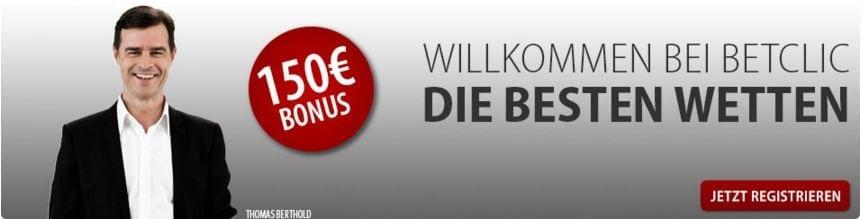 Bei Betclic erhält jeder Neukunde bis zu 150 Euro Bonus