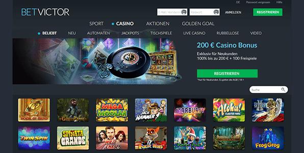 Die Startseite vom Betvictor Casino