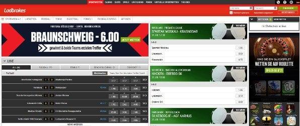 Ein Screenshot der Startseite von Ladbrokes