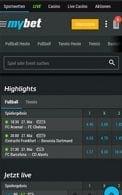 Der Startbildschirm in der Mybet App