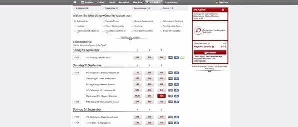 Beispielhafte Bundesligawette bei betclic