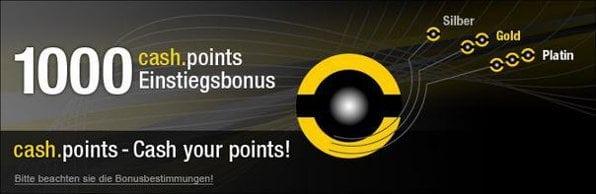 Ab 20.000 cash points erhalten steht ein 50% Bonus zur Verfügung