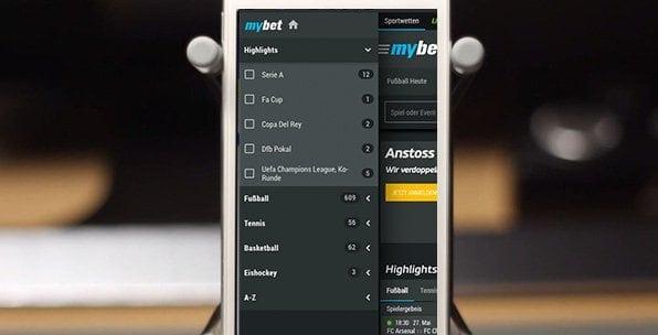 Das Wettangebot in der Mybet App