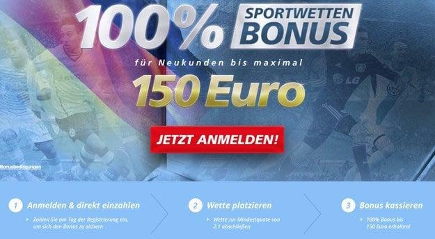 Für Neukunden hält der Anbieter 100% bis 150€ bereit. 5€ gibts gratis dazu