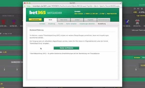 auszahlung bei bet365