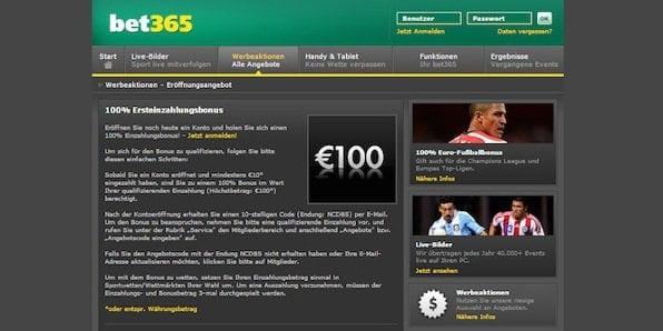 Neukunden erhalten bei bet365 einen 100% bis 100€ Bonus auf ihre Ersteinzahlung.