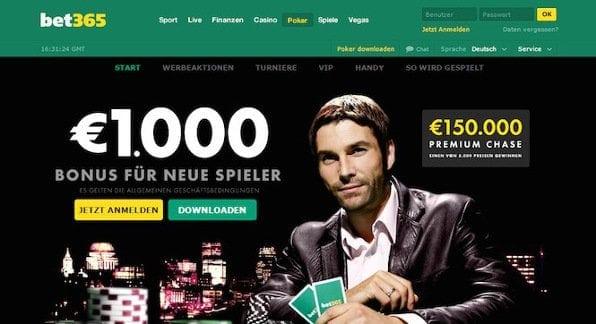 Top Pokerarena mit hoher Beteiligung und einem Einzahlungsbonus von bis zu 1.000 Euro
