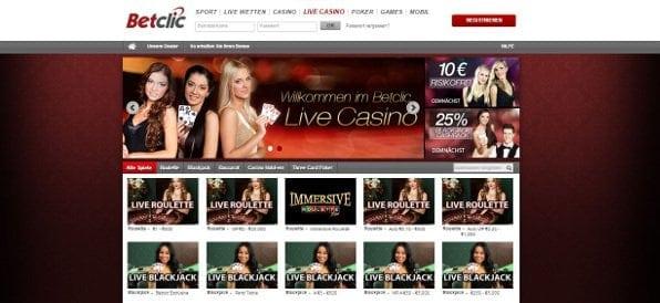 Im attraktiven Live-Casino von betclic stehen einige Spiele und Gewinne für Sie bereit