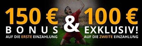 Neue Kunden erhalten einen 100% bis 150 + 100€ Bonus auf ihre erste Einzahlung