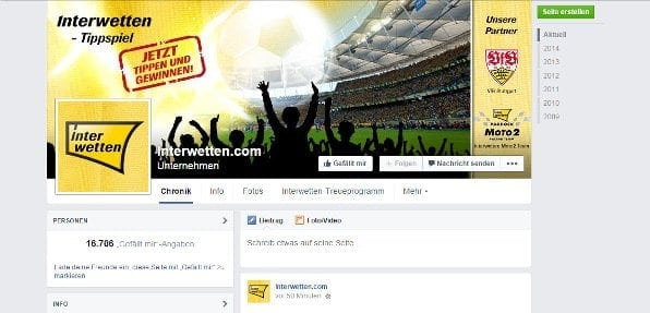 Interwetten hat rund 16.000 Follower bei Facebook