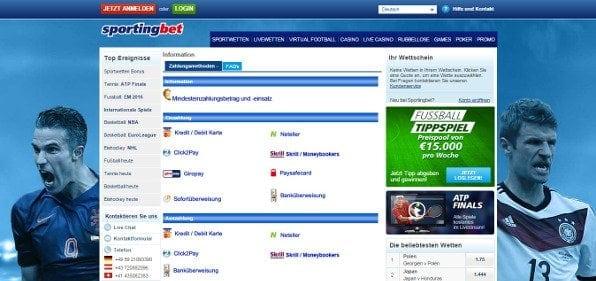 Sportingbet bietet die wichtigsten Zahlungsmethoden wie beispielsweise PayPal