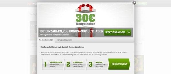 Neue Kunden erhalten einen 200% bis 20€ Bonus auf die erste Einzahlung