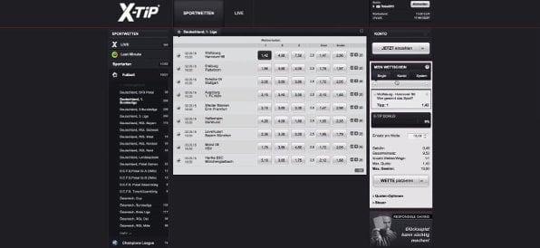 Beispielhafte Bundesligawette bei X-Tip