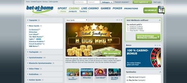 Das Casino von Bet-at-Home: Große Spielauswahl und attraktiver Neukundenbonus