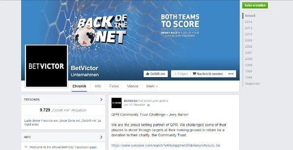 Betvictor hat nahezu 10.000 Fans bei Facebook