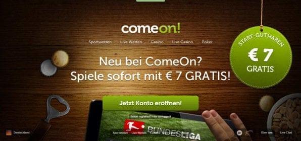 Die Startseite von Comeon: übersichtlich gestaltet in rustikalem Design
