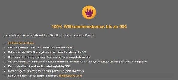 Neue Kunden erhalten einen 100%igen Einzahlungsbonus von bis zu 50€