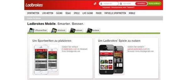 Die umfangreiche App von Ladbrokes macht keine Abstriche gegenüber der Webseite