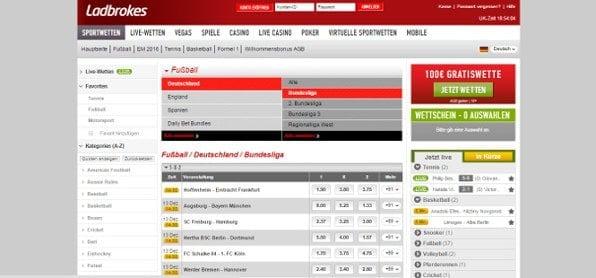 Beispielhafte Fußball Bundesligawette von Ladbrokes