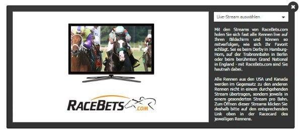 Mit dem Racebets Livestream können sie jedes Rennen live verfolgen
