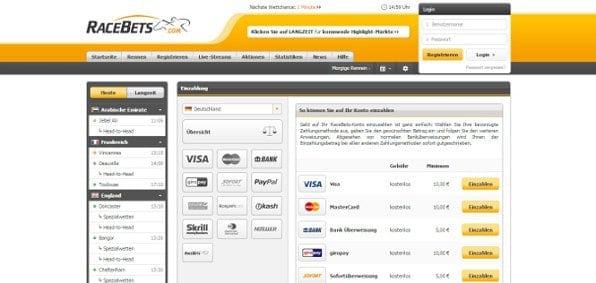 Racebets bietet eine Vielzahl an Zahlungsmethoden wie beispielsweise PayPal