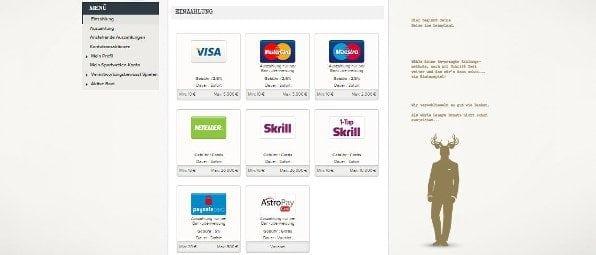 Superlenny bietet eine Vielzahl an Zahlungsmethoden wie beispielsweise Kreditkarten und e-Wallets
