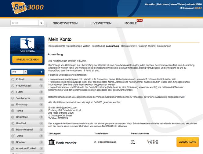 Details zur Auszahlung bei Bet3000