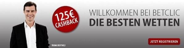 Bei Betclic erhalten neue Kunden einen Cashback Bonus von bis zu 125€