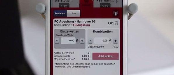 Hier ein Beispielwettschein für eine Fußballwette in der Betclic-App Ansicht.